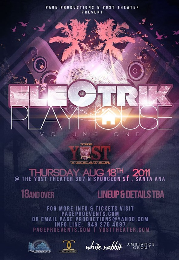 Electrik Playhouse @ Yost Theater – Aug. 18 w/ Cold Blank