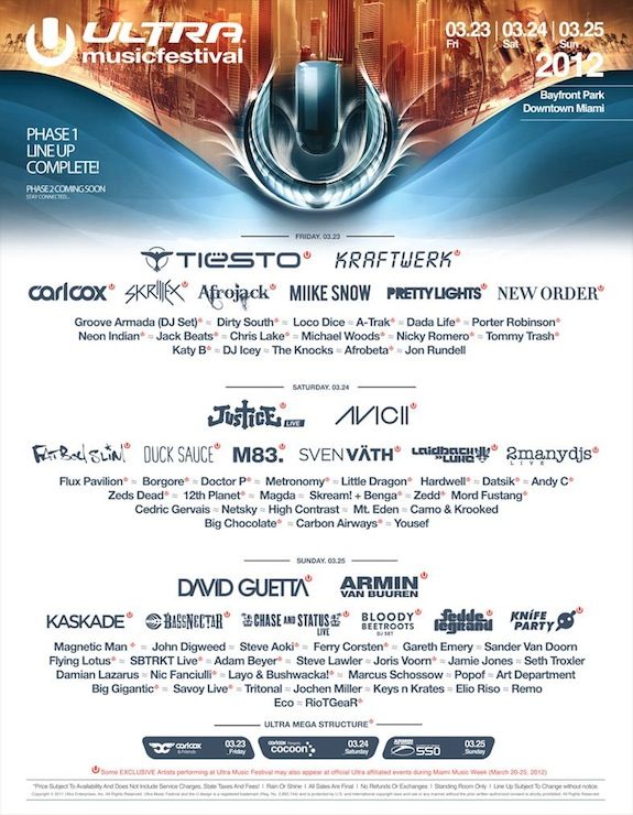Ultra Music Festival Phase 1 Lineup Announced!