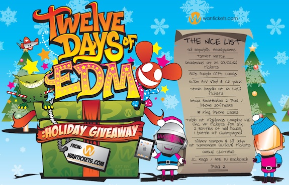 Wantickets presents 12 Days of EDM Holiday Giveaway