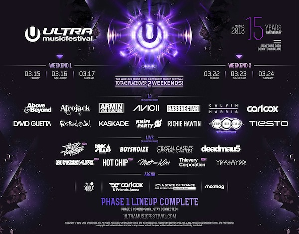 Ultra Music Festival 2013 Phase 1 Lineup Announced